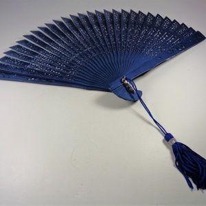 Accessories - NAVY BLUE BAMBOO FOLDING FAN WITH BLUE TASSEL